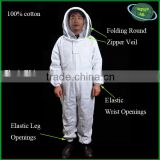 Beekeeping coverall hooded with veil complete for flexible operation