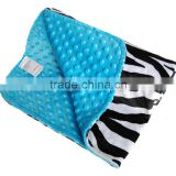 100% Polyester Super Soft Breathable Turquoise Minky Baby Animal Pattern Blanket