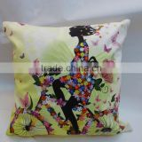 Fashion Handmade Retro Style Flower and Girl Painted Linen Cushion Cover Home Sofa Decor Pillow Case