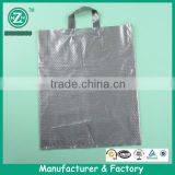 High tehsion grey direct sale plastic handle packing bag, custom packing bag for garment ,shoes and jeans