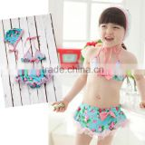 beautiful flower print kids girl swimwear of colorful Chilren swimwear new kids swimwear children green lovely baby wholesale