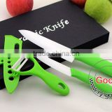 "GREEN 6""+ 4"" White Ceramic Knife + a Peeler Set 3pcs 4 inch Fruit 6 inch Chef Ceramic knife Set"