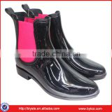Galoshes Black PVC Waterproof Rain Boots, Women Ankle Flat Heel Shoes