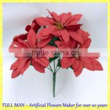 Indoor Artificial Christmas Flower Decoration H 25cm Silk Red Poinsettia Flower