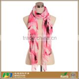 Spring Bright-Color Abstract Flowers Printed Twill Lightweight Scarves Custom