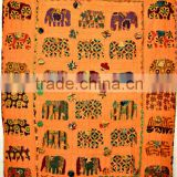 Traditional Indian Elephant Patchwork Multi color Handmade kantha Quilt Throw Kid's crib Bed cover