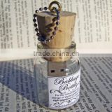 Glass bottle usb flash stick, glass jar usb with wooden cork, promotional Drift bottle wood glass souvenir usb stick