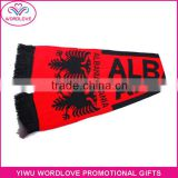 custom 2016 France EU Cup sports fans knitted scarf /wholesale jacquard logo acrylic football fans scarf for fans cheering