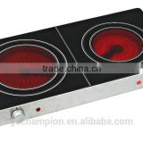 Portable infrared cooker double burners black crystal panel knob control induction cooker