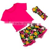 Cotton kids clothes wholesale cheap baby apparel floral girl summer set childrens boutique clothing