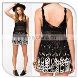 2015 new style women 100% cotton material crochet BLACK LACE fabric condole belt vest
