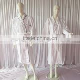 Tow Colors Hotels Unisex White Thick Absorbent Soft Cotton Robe Winter Long Sleeve Bathrobes Women Warm Stripe Waffle Bathrobes