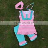 Baby girls pink Aztec tribal clothing set girls suit capri set outfits with matching headmade necklace and headband
