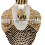 12layers Champagne Black Crystal Beads Brooches African Jewelry Set