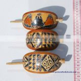 Brown Wooden Barrettes Ethnic Peruvian Design Drawings Art Wholesale Fashion Accessories