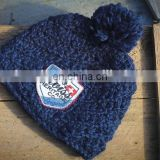 Hot sell navy blue hand made knitted with polar fleece sweatband