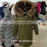 Irisfox 2016 winter warm fox fur lining fox fur hooded coat