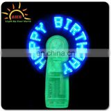 Good quality Mini portable led slogan fan flash what you want for party/Christmas