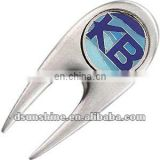 Golf divot tool with enamel ball marker