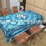 Indian Cotton Table Cloth Sky Blue Compass Zodiac Printed Dinning Table Cloth Vintage Wall Hanging Throw Bed Sheet Cover TC22