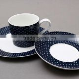 ceramic cup and saucer with black dots porcelain triangle coffee cup with saucer