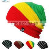 promotional custom your own logo fitted new fashion black color striped rasta beanie tam hat