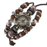Fashion Beads Decorated, 6 Colors Genuine Leather Strap Vintage Brand Watch Bracelet