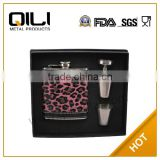 promotional 6oz stainless steel hip flask gift set premium for women's day and mother's day