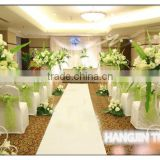 Beauty hotel banquet hall wedding party use table linens , endurable chair covers and decoration organza sashes