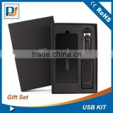 3 in 1 leather usb and slim usb hub and 9000mah power bank custom made black gift box set