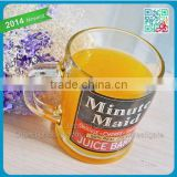 wholesale orange juice glass cup with handle for kids 235ml international useful hand shank glass cup juice bars