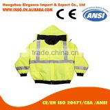safety winter jacket fluorescent hood jacket wholesale waterproof windproof Coat With reflector