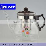 Heat-resistant pyrex glass tea/coffee pot with infuser 1000ML(glass factory)
