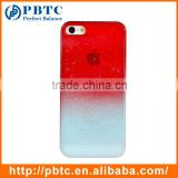 Set Screen Protector And Case For Iphone 5 , Hard Plastic Red Blue Gradually Changing Color Case Phone