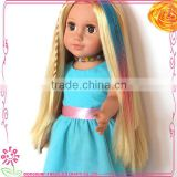 18 inch doll wig human hair wig, colorful doll wigs accessories