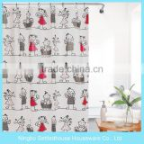 Character Fashion Design PEVA Shower Curtain with children