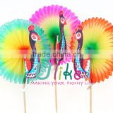 Colourful Peacock honeycomb fan tai Cocktail Sticks table decoration                                                                         Quality Choice