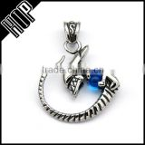 Best selling fashion stainless steel punk cool blue crytsal lizard pendant