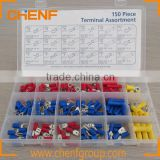 China Manufacture 150pcs/Box Insulated Terminals Electrical Crimp Connector Spade Ring Fork Assortment Kit