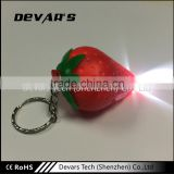 Fashion custom strawberry shape keychain with light