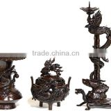 Japanese and Luxury antique metal vase , incense burner , and candlestick set Dragon and bamboo design made in Japan