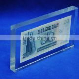 custom acrylic blocks crafts, glass paperweight with money wholesale