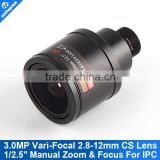 CCTV Lens 2.8-12mm Manual Focus M12 Mount F1.4 With 3.0Megpixel Fixed Iris Varifocal Lens
