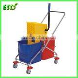ESD Plastic Double Mop Wringer Trolley With Handle