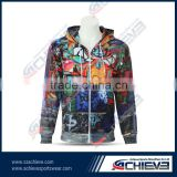 led light hoodie custom sublimated zipper hoodie black