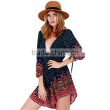 2016 Fashion Boho Style Deep V Neck Custom Print Women Jumpsuit Romper DME-6890