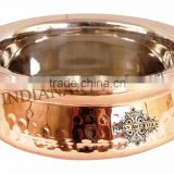 IndianArtVilla High Quality Steel Copper Handi Serving Bowl 400 ML - Serving Dish Curry Home Hotel Restaurant Tableware