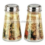 SINOGLASS 2 pcs with Tuscany decal cone shape glass salt and pepper spice jar shaker set