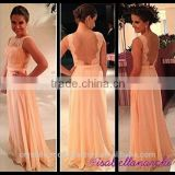 Wholesale Good Quality New Cheap Lace Backless formal Long Beach Chiffon Bridesmaid Dress With Sash LB31