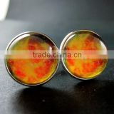 20mm silver plated orange galaxy universe art collage round glass cabochon fashion cufflinks wedding cuff link gift 6600058